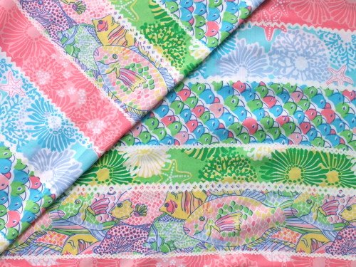 Authentic Lilly Pulitzer Sea Critters Stripe Cotton Fabric 1 YD x 57 Inch