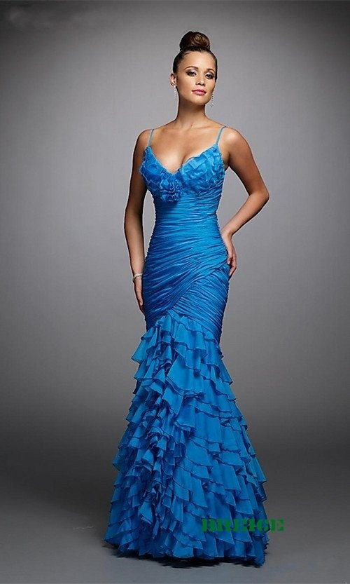 Blue Long Evening Dresses Prom Formal Gowns 05