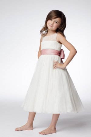 A-line Round-neck Tea-length Flower Girl Dress W007