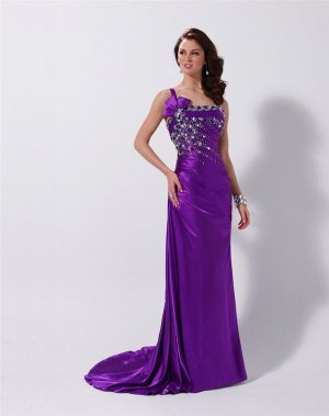 Purple One Shoulder Long Evening Dresses Prom Formal Gowns MS01