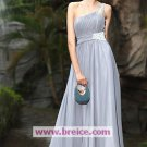A-Line One Shoulder Long Chiffon Silver Evening Dresses Prom Party Formal Bridal Ball GownsP005