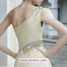 A-line Chiffon One Shoulder Floor-length Evening Dresses Prom Party Formal Bridal Gowns P036