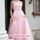 A-Line Long Light Pink Spaghetti Evening Dresses Prom Party Formal Bridal GownsP043
