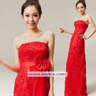 Cheap Red Lace Long Evening Dresses Prom Party Formal Bridal GownsT04B
