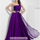 A-line Purple One Shoulder Chiffon Bridesmaid/ Wedding Party Dress Evening Prom Dress L09