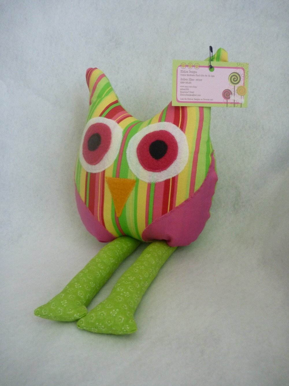 Owl Pillow for Nursery/Room Decor in Bright Pink Stripes