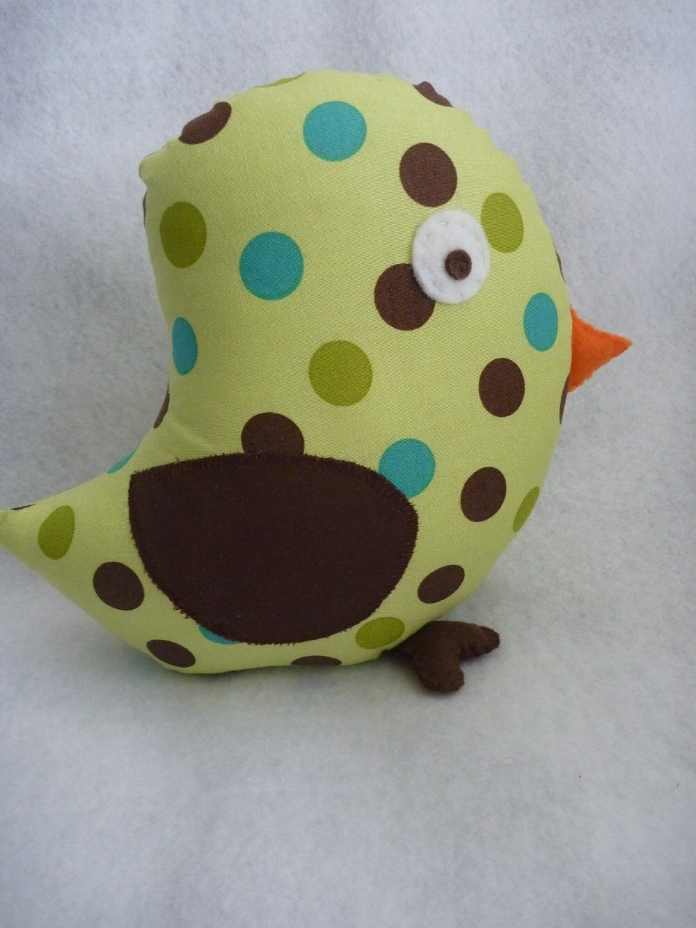 Bird Pillow for Tree Nursery in Chocolate Brown and Sage