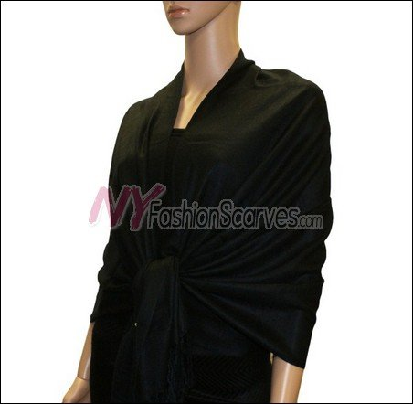 Silky Soft Solid Pashmina <br>Black