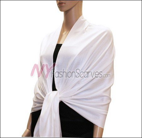 Silky Soft Solid Pashmina <br>White