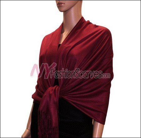 Silky Soft Solid Pashmina <br>Jujuba Red