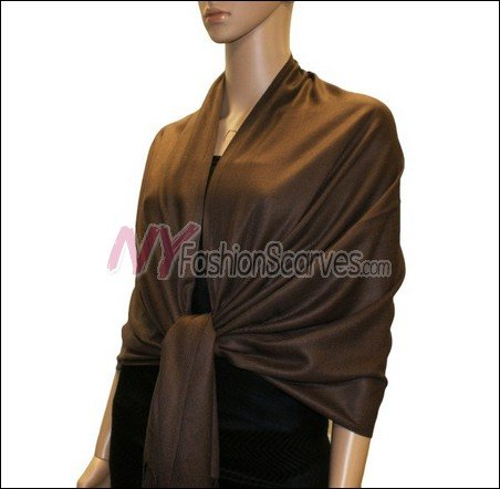 Silky Soft Solid Pashmina <br>Coffee
