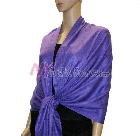 Silky Soft Solid Pashmina <br>Purple