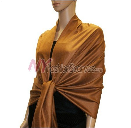 Silky Soft Solid Pashmina <br>Brown
