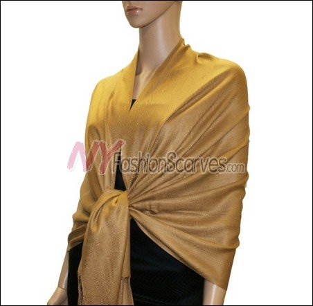 Silky Soft Solid Pashmina <br>Golden Brown