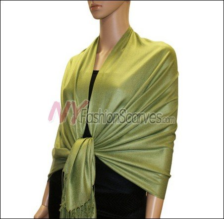 Silky Soft Solid Pashmina <br>Yellow Green