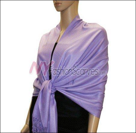Silky Soft Solid Pashmina <br>Light Purple