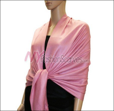 Silky Soft Solid Pashmina <br>Pink