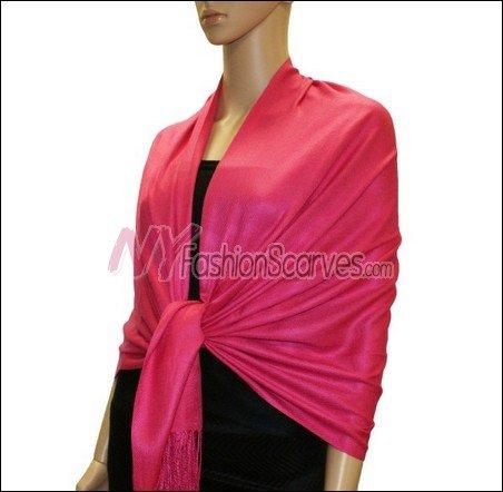 Silky Soft Solid Pashmina <br>Fushia