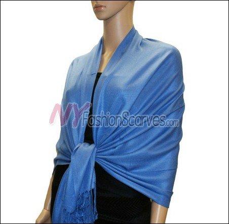 Silky Soft Solid Pashmina <br>Blue