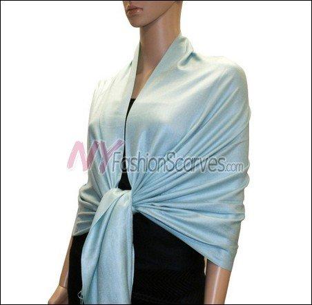 Silky Soft Solid Pashmina <br>Light Cyan