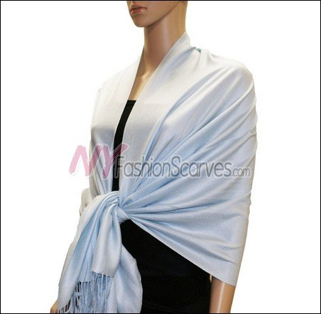 Silky Soft Solid Pashmina <br>Alice Blue