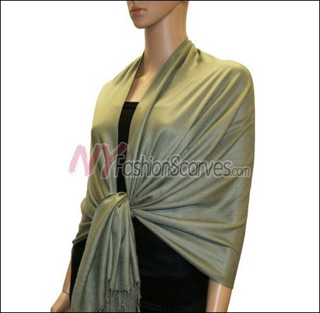 Silky Soft Solid Pashmina <br>Army Green