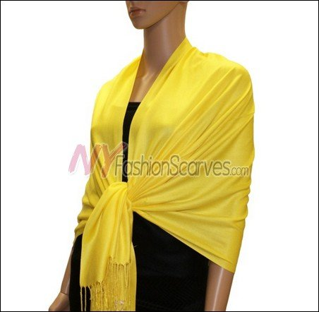 Silky Soft Solid Pashmina <br>Bright Yellow