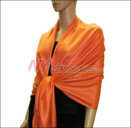 Silky Soft Solid Pashmina <br>Orange Red
