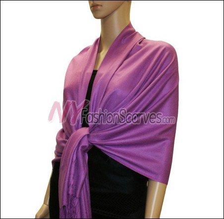 Silky Soft Solid Pashmina <br>Violet Red