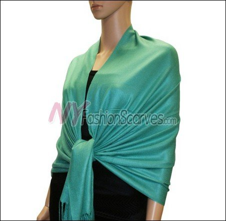 Silky Soft Solid Pashmina <br>Light Sea Green