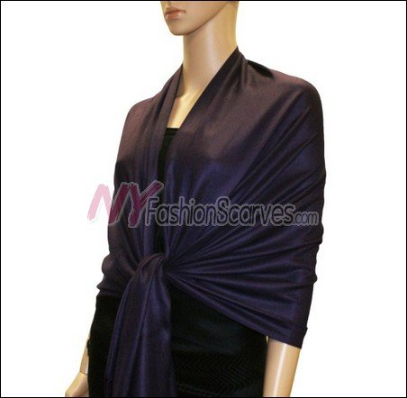 Silky Soft Solid Pashmina <br>Deep Purple