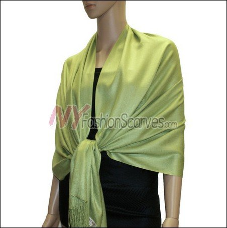 Silky Soft Solid Pashmina <br>Lime