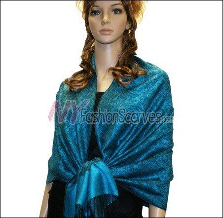 Paisley Jacquard Pashmina<br>Cyan Blue