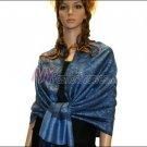 Paisley Jacquard Pashmina<br>Slate Blue