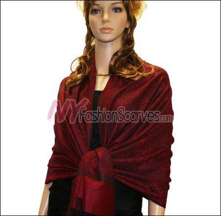 Paisley Jacquard Pashmina<br>Red w/ Black