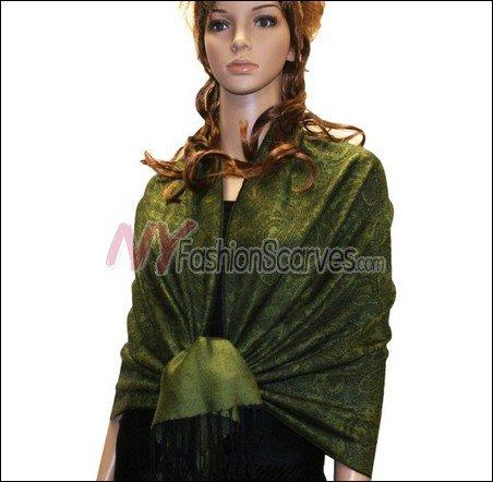 Paisley Jacquard Pashmina<br>Dark Green