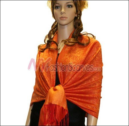 Paisley Jacquard Pashmina<br>Orange
