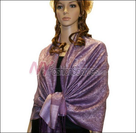 Paisley Jacquard Pashmina<br>Medium Purple
