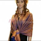 Paisley Jacquard Pashmina<br>Orange w/ Dark Blue