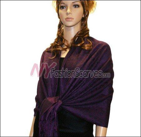 Paisley Jacquard Pashmina<br>Dark Purple