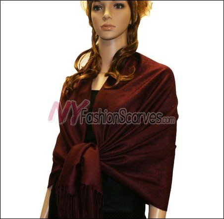 Paisley Jacquard Pashmina<br>Burgundy