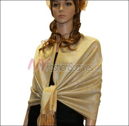 Paisley Jacquard Pashmina<br>Pearl Yellow
