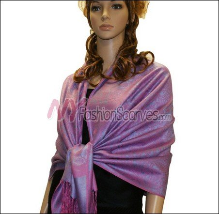 Paisley Jacquard Pashmina<br>Pink w/ Light Purple
