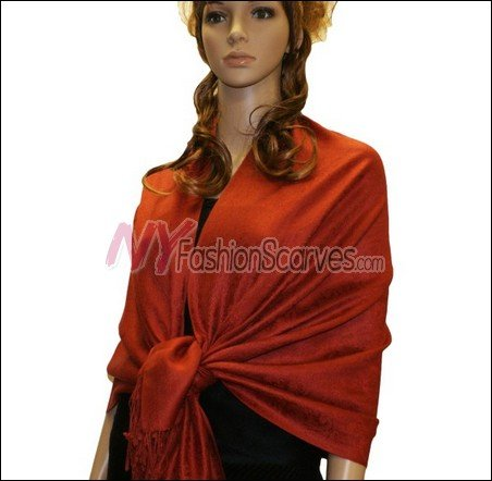 Paisley Jacquard Pashmina<br>Coral Red
