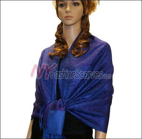 Paisley Jacquard Pashmina<br>Dark Purple w/ Blue