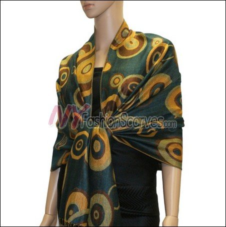Multi Colored Circle Pashmina <br>Teal
