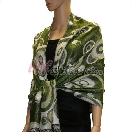 Multi Colored Circle Pashmina <br>Green