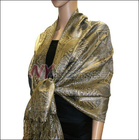 Metallic Paisley Pashmina <br>Black Grey