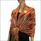 Metallic Paisley Pashmina <br>Red