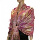 Metallic Paisley Pashmina <br>Red Purple